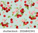 seamless cherry pattern with... | Shutterstock .eps vector #2026842341