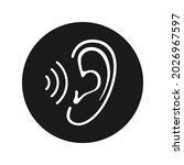 ear icon with sound wave. sign...   Shutterstock .eps vector #2026967597