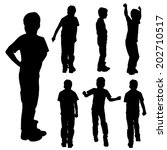 vector silhouette of boy on a... | Shutterstock .eps vector #202710517