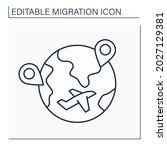 internal migration line icon....   Shutterstock .eps vector #2027129381