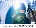 Male Skier Wearing Ski Googles...