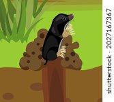 cartoon black mole on molehill...   Shutterstock .eps vector #2027167367