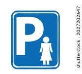 parking sign for women..white... | Shutterstock .eps vector #2027202647