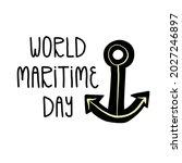 world maritime day hand...   Shutterstock .eps vector #2027246897