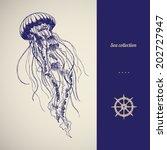Hand Drawn Jellyfish. Vector...