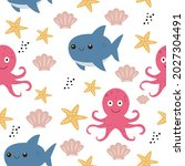 cute seamless sea pattern with... | Shutterstock .eps vector #2027304491