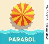 retro flat parasol icon concept.... | Shutterstock .eps vector #202733767