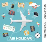 flat design icons  air holidays ... | Shutterstock .eps vector #202734655