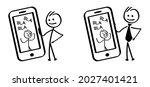 phone call  stickman figures...   Shutterstock .eps vector #2027401421