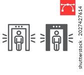 metal detector line and glyph... | Shutterstock .eps vector #2027427614