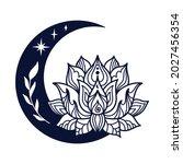 half moon and lotus flower...   Shutterstock .eps vector #2027456354