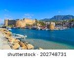 boats in a port in kyrenia ... | Shutterstock . vector #202748731