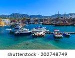 boats in a port in kyrenia ... | Shutterstock . vector #202748749