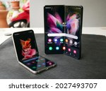 Small photo of Bangkok, Thailand - August 11, 2021: Samsung officially launches the latest foldable flagship smartphone, the Samsung Galaxy Flip 3.