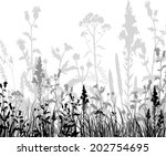 silhouettes  of flowers and... | Shutterstock . vector #202754695