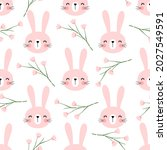 Seamless Pattern With Rabbit...
