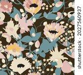 pattern autumn flowers painted... | Shutterstock .eps vector #2027560937