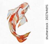 goldfish koi fish  watercolor... | Shutterstock . vector #202764691