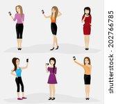 women taking a selfie  ... | Shutterstock .eps vector #202766785