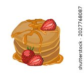several pancakes are stacked... | Shutterstock .eps vector #2027768087