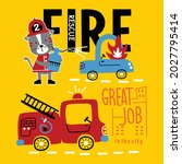 cat the fire rescue funny...   Shutterstock .eps vector #2027795414