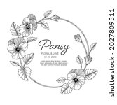 hand drawn pansy floral... | Shutterstock .eps vector #2027809511