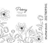 hand drawn peony floral... | Shutterstock .eps vector #2027809541