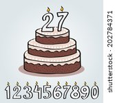 Bithday cake with numbers - stock vector