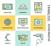 flat line icons set of... | Shutterstock .eps vector #202788661