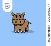 hippopotamus logo icon on white ...