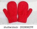 pair of red mittens  | Shutterstock . vector #202808299