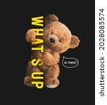 cute bear doll holding what's...   Shutterstock .eps vector #2028085574