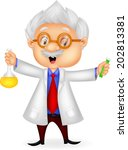 cartoon scientist holding... | Shutterstock . vector #202813381