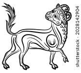 stylized bull or calf. taurus... | Shutterstock .eps vector #2028142904