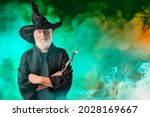 An old wizard in a halloween...