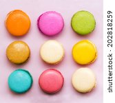Sweet Colorful Macaroons On...