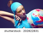 grotesque. eccentric woman with ... | Shutterstock . vector #202822831