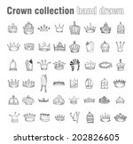 crown collection  hand drawn... | Shutterstock .eps vector #202826605