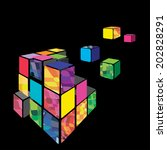 Rubik cube 3D vector with black background. Vector illustration.