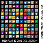 set of 100 universal flat... | Shutterstock .eps vector #202832455