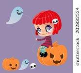 kawaii cute girl on a pumpkin... | Shutterstock .eps vector #202832524