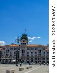 Small photo of Trieste, Italy - July 16, 2017: View of Trieste City Hall in Piazza Unita d'Italia on a Sunny Day