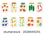 a set of glass jars with... | Shutterstock .eps vector #2028445241