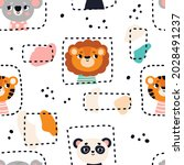 seamless pattern with cute... | Shutterstock .eps vector #2028491237