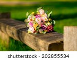 wedding bouquet of yellow and... | Shutterstock . vector #202855534