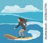 an adventure woman surfing on... | Shutterstock .eps vector #2028610754