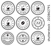 set of vintage coffee stamps ... | Shutterstock .eps vector #202862791