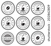 set of vintage coffee stamps ... | Shutterstock .eps vector #202862809