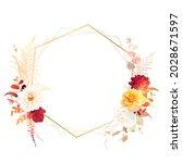 trendy dried fern leaves ... | Shutterstock .eps vector #2028671597