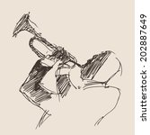 jazz concept  man playing the... | Shutterstock .eps vector #202887649